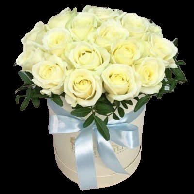 Белые розы в шляпной коробке №4